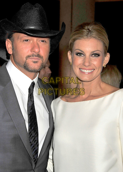 TIM McGRAW & FAITH HILL.BMI's 56th Annual Country Awards held at BMI Music Row, Nashville, Tennessee, USA..November 11th, 2008.half length white grey gray hat black goatee facial hair wife married husband.CAP/ADM/LF.©Laura Farr/AdMedia/Capital Pictures.