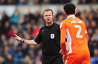 Referee Chris Sarginson dismisses Blackpool calls for a penalty<br /> <br /> Photographer Kevin Barnes/CameraSport<br /> <br /> The EFL Sky Bet League Two - Wycombe Wanderers v Blackpool - Saturday 11th March 2017 - Adams Park - Wycombe<br /> <br /> World Copyright &copy; 2017 CameraSport. All rights reserved. 43 Linden Ave. Countesthorpe. Leicester. England. LE8 5PG - Tel: +44 (0) 116 277 4147 - admin@camerasport.com - www.camerasport.com