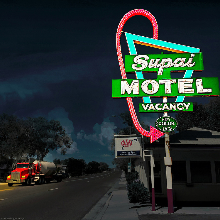 Neon street sign in USA for motel