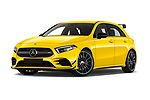 Stock pictures of low aggressive front three quarter view of 2019 Mercedes Benz A-Class - 5 Door Hatchback Low Aggressive