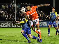 Blackpool's Curtis Tilt competing with Solihull Moors'  Liam Daly<br /> <br /> Photographer Andrew Kearns/CameraSport<br /> <br /> The Emirates FA Cup Second Round - Solihull Moors v Blackpool - Friday 30th November 2018 - Damson Park - Solihull<br />  <br /> World Copyright © 2018 CameraSport. All rights reserved. 43 Linden Ave. Countesthorpe. Leicester. England. LE8 5PG - Tel: +44 (0) 116 277 4147 - admin@camerasport.com - www.camerasport.com