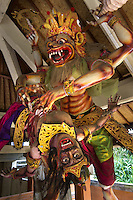 Ogoh-Ogoh (demon) of Nara Singha (lion), Central Bali. Balinese New Year called Nyepi (around march according to lunar calendar),  is a silent day of meditation and spiritual purification. One day before exorcist rituals are held for purification and balance of polar powers of the universe, first at noon by a priest (exorcism called Caru or Tawur Agung) and later on after sunset in a popular, carneval-like procession of Ogoh-Ogoh, symbolizing bhuta kali (demon, bad spirits,bad habits),  so all the bad spirits leave the village and the island.  Loud, rhythmic music and special performances are part of the procession called Ngerupuk. Road crossings are major spots of exorcism and special ogoh-ogoh performance, since demons often like to dwell here. At Nyepi, the following day, there is 24 hours silence, no vehicle or people on the street, no light or fire, no working  all the bad spirits should think, the island is abandoned and leave the island. Day after Nyepi is a day of reconciliation  new year starts purified.