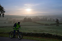 22/09/14 <br /> <br /> A cyclist wraps up warm after the first frost of the season near Hartington in the Derbyshire Peak District.<br /> <br /> All Rights Reserved: F Stop Press Ltd. +44(0)1335 300098   www.fstoppress.com.