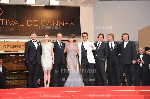 "Johnny Depp and the stars of the movie at the gala screening for their movie ""Pirates of the Caribbean: On Stranger Tides"" at the 64th Festival de Cannes..May 14, 2011  Cannes, France.Picture: Paul Smith / Featureflash"