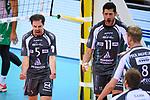 11.11.2017, Arena Kreis Dueren, Dueren<br />Volleyball, Bundesliga MŠnner / Maenner, Normalrunde, SWD powervolleys DŸren / Dueren vs. Netzhoppers Kšnigs / Koenigs Wusterhausen<br /><br />Jubel Stijn D'Hulst (#5 Dueren), Michael Andrei (#11 Dueren), Marvin Prolingheuer (#8 Dueren)<br /><br />  Foto &copy; nordphoto / Kurth