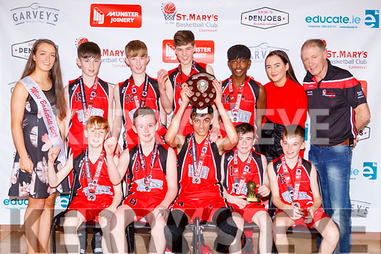 The St Marys team celebrate after defeating Rathmore Ravens in the u14 boys final on Monday front row l-r David Heay, Cian Downey, Evan Brennan, Eoghan Shire, Ben O'Donoghue, Back row: Paris McCarthy Miss Basketball, Christopher Divane, Luke McShane, Larry Nolan, Mint O'Connor, Leanne O'Connor and Eamon Egan coach's