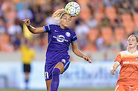 Monica Hickman Alves (21) of the Orlando Pride heads the ball towards the Houston Dash goal on Friday, May 20, 2016 at BBVA Compass Stadium in Houston Texas. The Orlando Pride defeated the Houston Dash 1-0.