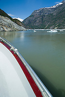 Bow of tour boat and scenic view-Tracy Arm Fjord, Alaska, USA