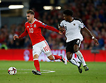 Aaron Ramsey of Wales and David Alaba of Austria during the World Cup Qualifying Group D match at the Cardiff City Stadium, Cardiff. Picture date 2nd September 2017. Picture credit should read: Simon Bellis/Sportimage