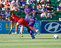 11th January 2020; HBF Park, Perth, Western Australia, Australia; A League Football, Perth Glory versus Adelaide United; Michael Maria from Adelaide United crashes to the ground after a heavy tackle by the Perth Glory defender - Editorial Use