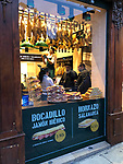 Valencia-Spain, January 13, 2018; <br /> shop offers sandwiches with ibérico-ham;<br /> Photo © HorstWagner.eu