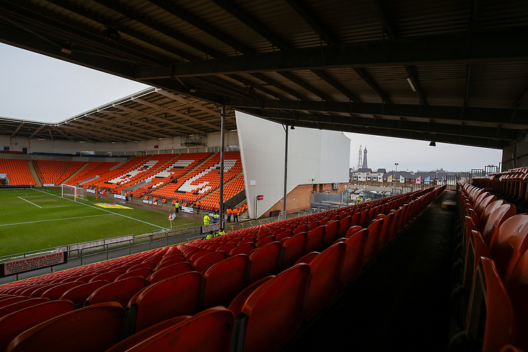 A general view of Bloomfield Road, home of Blackpool FC<br /> <br /> Photographer Alex Dodd/CameraSport<br /> <br /> The EFL Sky Bet League One - Blackpool v Shrewsbury Town - Saturday 19 January 2019 - Bloomfield Road - Blackpool<br /> <br /> World Copyright &copy; 2019 CameraSport. All rights reserved. 43 Linden Ave. Countesthorpe. Leicester. England. LE8 5PG - Tel: +44 (0) 116 277 4147 - admin@camerasport.com - www.camerasport.com