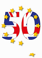 Union Jack as article 50 and star leaving European Union flag