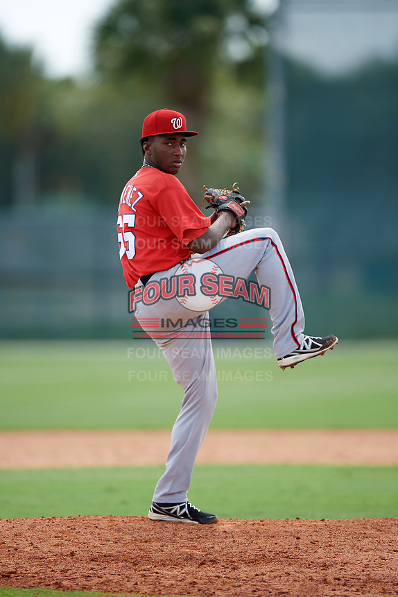 GCL Nationals relief pitcher Jose Jimenez (65) delivers a pitch during the first game of a doubleheader against the GCL Marlins on July 23, 2017 at Roger Dean Stadium Complex in Jupiter, Florida.  GCL Nationals defeated the GCL Marlins 4-0 as Jimenez combined with starting pitcher Joan Baez (not pictured) to throw a seven inning no-hitter.  (Mike Janes/Four Seam Images)