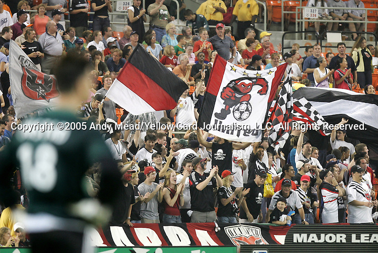 15 July 2005: Pat Onstad (l) watches as DC supporters celebrate their team's third goal. DC United defeated the San Jose Earthquakes 3-0 at RFK Stadium in Washington, DC in a regular season Major League Soccer game.