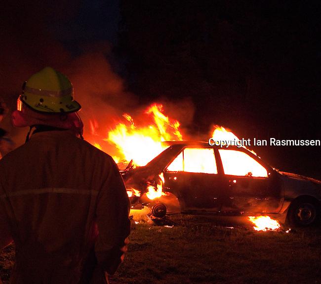Stolen car on fire