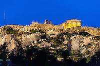Athens, Greece.  Acropolis seen from Plaka and the Ancient Agora of Athens.