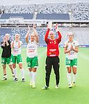 Stockholm 2015-04-11 Fotboll Damallsvenskan Hammarby IF DFF - Mallbackens IF Sunne  :  <br /> Hammarbys m&aring;lvakt Sofia Lundgren , Hel&eacute;n Eke och Moa Hedell jublar med lagkamrater efter matchen mellan Hammarby IF DFF och Mallbackens IF Sunne  <br /> (Foto: Kenta J&ouml;nsson) Nyckelord:  Fotboll Damallsvenskan Dam Damer Tele2 Arena Hammarby HIF Bajen Mallbacken jubel gl&auml;dje lycka glad happy