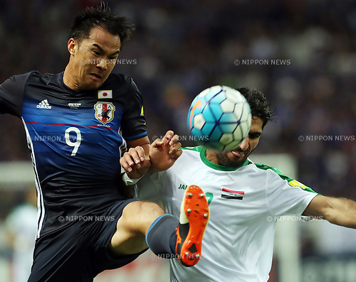 October 6, 2016, Saitama, Japan - Japan's Shinji Okazaki (9) and Iraq's Ahmed Ibrahim fight the ball during the World Cup 2018 qualifier in Saitama, suburban Tokyo on Thursday, October 6, 2016. Japan defeated Iraq 2-1 in the extra time.  (Photo by Yoshio Tsunoda/AFLO) LWX -ytd-