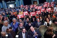Bergamo: Pier Luigi Bersani e Umberto Ambrosoli durante un incontro organizzato a Bergamo dal Partito Democratico