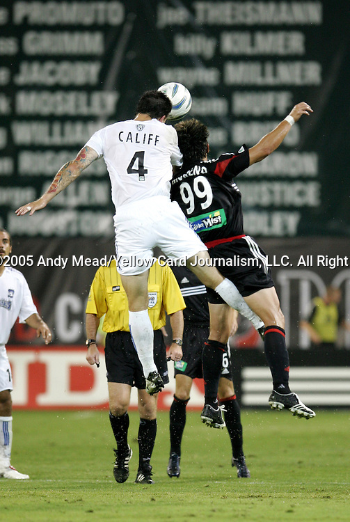 15 July 2005: Danny Califf (4) and Jaime Moreno (99) challenge for a header. DC United defeated the San Jose Earthquakes 3-0 at RFK Stadium in Washington, DC in a regular season Major League Soccer game.