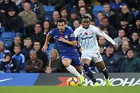 Pedro of Chelsea in possession as Everton's Ademola Lookman watches on during Chelsea vs Everton, Premier League Football at Stamford Bridge on 11th November 2018