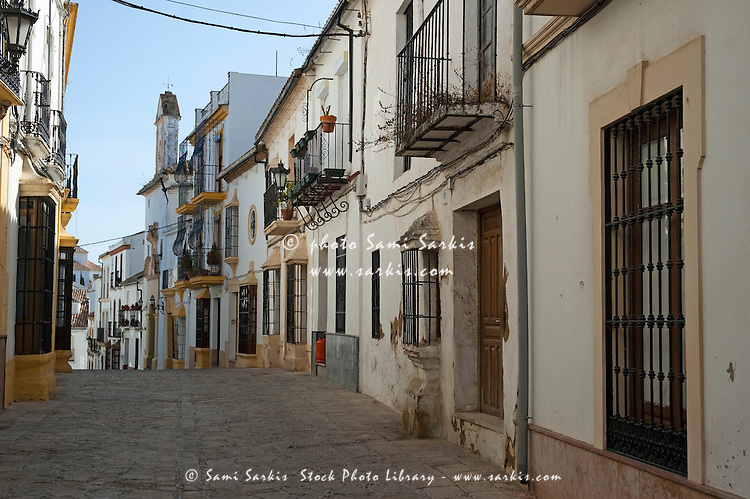 View of alley and streetscape, Ronda, Andalusia, Spain.