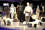 Various characters of the film series Star Wars on display at the exhibition Star Wars Vision at the Tokyo City View Sky Gallery in Roppongi Hills on April 28, 2015, Tokyo, Japan. The exhibition is divided into six themed areas (Original, Force, Battle, Saga, Galaxy and Droid) located in different halls, and visitors can see models of the battle spaceships, life-size statues of the principal characters and Jedi weapons from the movies. The exhibition also introduces 60 art pieces and 100 movie props. It will open to the public from April 29th to June 28th. (Photo by Lucasfilm/Rodrigo Reyes Marin/AFLO)