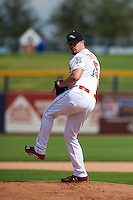 Peoria Javelinas pitcher Nick Travieso (25) delivers a pitch during an Arizona Fall League game against the Mesa Solar Sox on October 21, 2015 at Peoria Stadium in Peoria, Arizona.  Peoria defeated Mesa 5-3.  (Mike Janes/Four Seam Images)