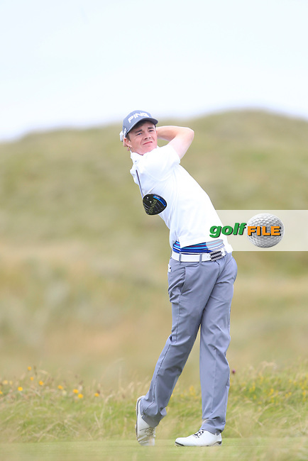 Stuart Grehan (Tullamore) on the 2nd tee during Matchplay Round 4 of the South of Ireland Amateur Open Championship at LaHinch Golf Club on Saturday 25th July 2015.<br /> Picture:  Golffile   TJ Caffrey