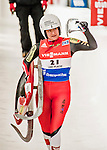 5 December 2015: Birgit Platzer, competing for Austria, carries her sled off the track after her second run of the Viessmann World Cup Women's Luge, with a combined 2-run time of 1:29.528 and a 18th place result at the Olympic Sports Track in Lake Placid, New York, USA. Mandatory Credit: Ed Wolfstein Photo *** RAW (NEF) Image File Available ***