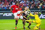 Solna 2013-08-06 Football Friendly Game , AIK - Manchester United FC :  <br /> Manchester United 8 Anderson har m&aring;lchans framf&ouml;r AIK m&aring;lvakt goalkeeper 35 Patrik Carlgren <br /> (Foto: Kenta J&ouml;nsson) Nyckelord: