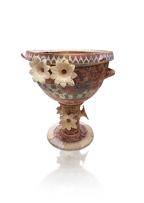 Luxury Minoan Kamares banqueting Ware  krater richly decorated with appiique lilies, Phaistos  1800-1700 BC; Heraklion Archaeological  Museum, white background.<br /> <br /> This style of pottery is named afetr Kamares cave where this style of pottery was first found.