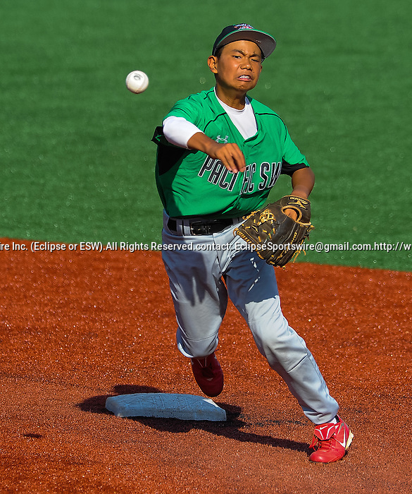 Mililani(HI)'s Ryne Oshiro tries to turn a double play during the Cal Ripken Babe Ruth World Series in Aberdeen, Maryland on August 12, 2012