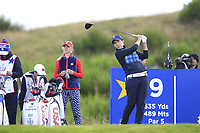 Carlota Ciganda of Team Europe on the 9th tee during Day 1 Fourball at the Solheim Cup 2019, Gleneagles Golf CLub, Auchterarder, Perthshire, Scotland. 13/09/2019.<br /> Picture Thos Caffrey / Golffile.ie<br /> <br /> All photo usage must carry mandatory copyright credit (© Golffile | Thos Caffrey)