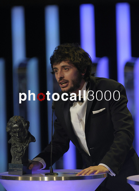 """Javier Pereira gives a speech after winning the Goya award for best revelation actor for the film """"Stockholm"""" at the Goya Film Awards ceremony in Madrid on February 9, 2014. Photo by Ivan Espinola/ DyD FOTOGRAFOS-DYDPPA"""