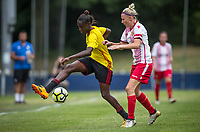 Rinsola Babajide of Watford Ladies & Leah Dunnage of Stevenage Ladies during the pre season friendly match between Stevenage Ladies FC and Watford Ladies at The County Ground, Letchworth Garden City, England on 16 July 2017. Photo by Andy Rowland / PRiME Media Images.