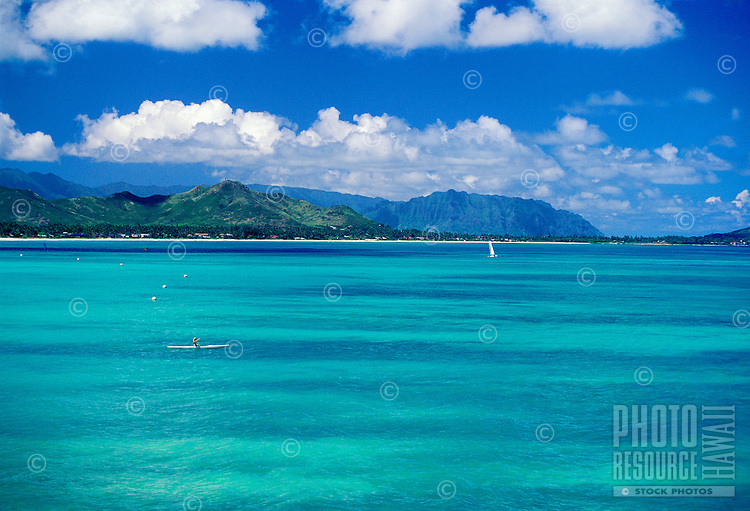 Kayaking on bluegreen waters near Kailua and Lanikai. Windward side, Oahu