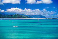 Kayaking on bluegreen waters near Kailua and Lanikai. Windward side, Oahu
