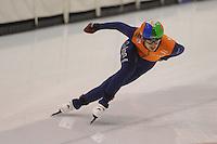 SCHAATSEN: HEERENVEEN; 18-10-2014, IJstadion Thialf, Shorttrack Invitation Cup Thialf, Itzhak de Laat, ©foto Martin de Jong