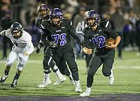 NWA Democrat-Gazette/BEN GOFF @NWABENGOFF<br /> Quinn McClain, Fayetteville running back, runs the ball in the third quarter vs Springdale Har-Ber Friday, Nov. 8, 2019, at Harmon Stadium in Fayetteville.