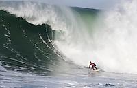 Ryan Seelbach surfs a wave during the 2008 Mavericks Surf Contest in Half Moon Bay, Calif., Saturday, January 12, 2008.