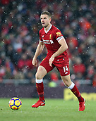 17th March 2018, Anfield, Liverpool, England; EPL Premier League football, Liverpool versus Watford; Jordan Henderson of Liverpool brings the ball forward during a Liverpool attack
