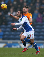 Blackburn Rovers' Bradley Dack and Oldham Athletic's Dan Gardner<br /> <br /> Photographer Stephen White/CameraSport<br /> <br /> The EFL Sky Bet League One - Blackburn Rovers v Oldham Athletic - Saturday 10th February 2018 - Ewood Park - Blackburn<br /> <br /> World Copyright &copy; 2018 CameraSport. All rights reserved. 43 Linden Ave. Countesthorpe. Leicester. England. LE8 5PG - Tel: +44 (0) 116 277 4147 - admin@camerasport.com - www.camerasport.com