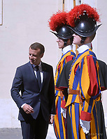 French President Emmanuel Macron arrives for the meeting with Pope Francis at the Vatican, June 26, 2018