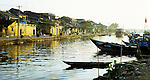 Hoi An Dawn 01 - Old buildings along Bach Dang St, and fishing boats on the Thu Bon river, early morning, Hoi An, Viet Nam