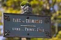 Europe/France/Centre/41/Loir-et-Cher/Sologne/Chambord: Parc de Chambord -  Panneau indicateur  // France, Loir et Cher, Loire Valley listed as World Heritage by UNESCO, Chateau de Chambord :