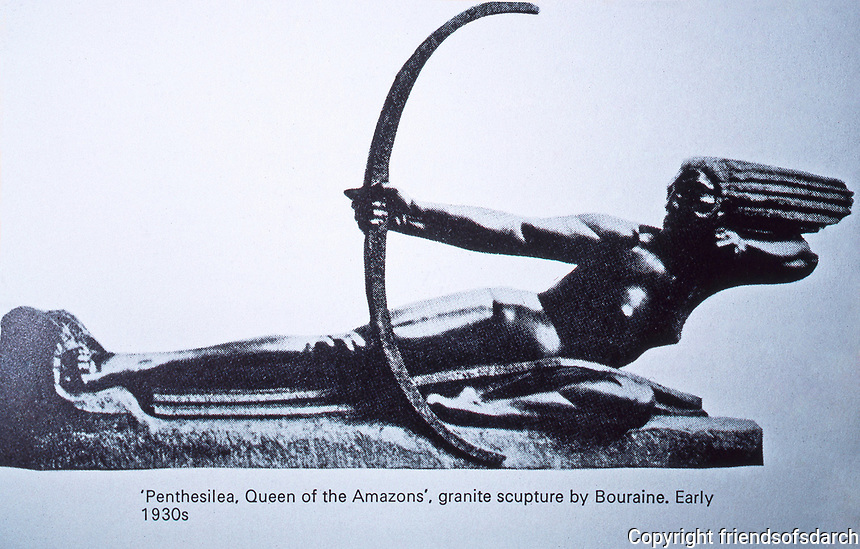 Bronze Art Deco stylized sculpture by Bouraine.  Penthesilea, Queen of the Amazons. Photo Sept. 1989.