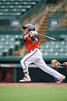 GCL Orioles Jose Lizarraga (28) bats during a Gulf Coast League game against the GCL Braves on August 5, 2019 at Ed Smith Stadium in Sarasota, Florida.  GCL Orioles defeated the GCL Braves 4-3 in the first game of a doubleheader.  (Mike Janes/Four Seam Images)