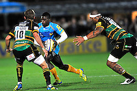 Aviva Premiership. Northampton, England. Christian Wade of London Wasps in action during the Aviva Premiership match between Northampton Saints and London Wasps at Franklin's Gardens on September 28. 2012 in Northampton, England.